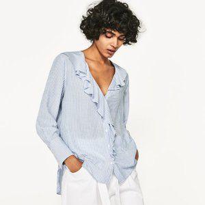 NWT $36  ZARA Blue Striped Ruffle Shirt    Size: M
